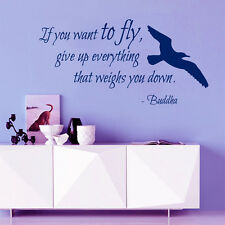 Bird Wall Decal Quote If You Want To Fly Buddha Vinyl Stickers Bedroom Decor KI3