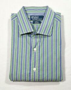 Polo by Ralph Lauren Men Size 17 1/2 - 36 Dress Shirt Striped Blue Green Beige