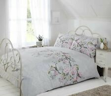 Bird Branch Floral Lace Print Grey Pink King Size Duvet Cover 230x220cm