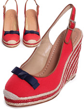 Kate Spade 'sweetie' Red Canvas Wedge Espadrille Bow Sandals Shoe 6.5- 36.5