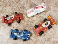 4 Mini Race Car Red Blue White Wooden