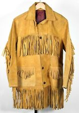 Vintage Tan Western Suede Leather Fringe Button Jacket (Unbranded)