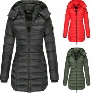 Womens Long Trimmed Hooded Padded Puffer Ladies Winter Jacket Coat Size 8-16