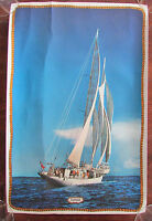 Vintage Polynesia Sailboat Yacht Schooner Poster Wall Art Hanging 18x12