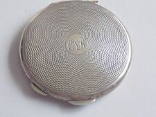Beautiful Fully Hallmarked Engine Turned Solid Silver Powder Compact 45 gms