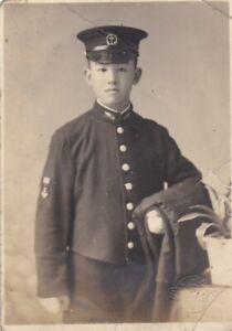 OLD VINTAGE PHOTO ASIA JAPAN JAPANESE MAN UNIFORM ANCHOR NAVY AA393