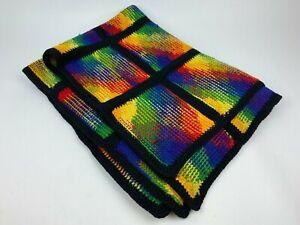 "Knit Multi-Color Tie dye Woven Heavy Throw Blanket afghan 43""x32"""