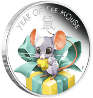 2020 BABY MOUSE 1/2oz .9999 Silver Proof Half Dollar Coin Lunar Year Tuvalu