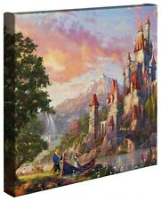 "Beauty and the Beast II Thomas Kinkade Disney 14"" x 14"" Gallery Wrapped Canvas"