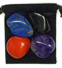 EPILEPSY RELIEF Tumbled Crystal Healing Set = 4 Stones + Pouch + Card