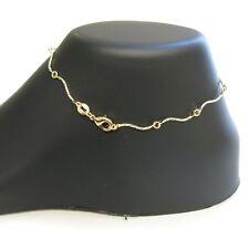 18k Gold Filled Diamond Cut Squiggly Bar Anklet