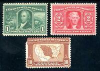 USAstamps Unused VF US Louisiana Purchase Scott 323 MVLH, 324 MNH, 327 OG MVLH