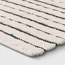 "OPALHOUSE Handmade Striped Bath Rug | White/Black | 32"" x 20"" | 🆕"