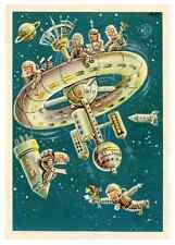 1963 Soviet Space Astronauts Sputnik GDR for USSR Original Germany Postcard RARE