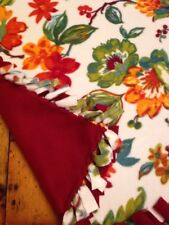 Handmade Fleece Tie-Blanket Autumn Floral Burgundy 58X72 - 2 layers