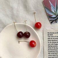Fashion Red Cherry Fruit Stud Earrings Dangle Drop for Women Girl Jewelry Gift