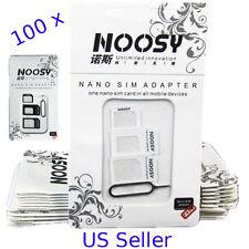 Bulk LOT 100pcs- IPHONE SAMSUNG LG NEXUS Noosy Nano Micro Sim Card Adapter 100 X
