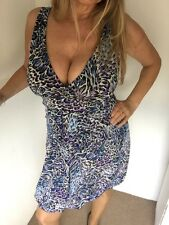 Dorothy Perkins Blue V Front Tulip Style Animal Print Knee Length Dress Size 10