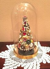 Vintage Jewelry 3D Tree handcrafted, glass dome, multicolor tea light Christmas