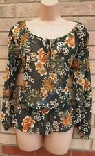 NEXT GREEN LONG SLEEVE FOLK FLORAL ORANGE TIE NECK BAGGY BLOUSE TUNIC TOP 6