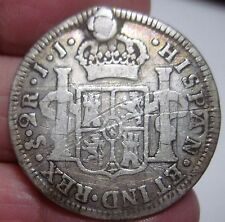 1802 JJ (SANTIAGO-CHILE) 2 REALES (SILVER) ----VERY SCARCE----- RARE TYPE----