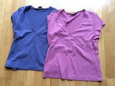 2x Atmosphere, size 16-18 short sleeve mock wrap tops, 1 pink,  blue/purple