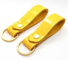 Leather Key Ring Mock Croc Sunshine Yellow key strap key fob UK Made