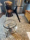 Glass Coffee Tea Pot Carafe Metal Warmer Stand Vtg Mid Century Copper Cork 2pcs