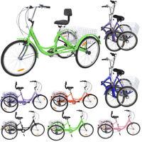 20'' Foldable/24''/26'' 7 Speed 3-Wheel Adult Tricycle Trike Bicycle w/Basket US