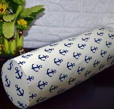 AL266g Dp Blue Beige Anchor Cotton Canvas Yoga Bolster Cushion Cover Custom Size
