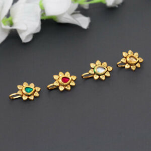 Indian Stylish Gold Plated Multi Color Kundan Nose Pin Combo Of 4 Pieces