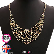NEW Gold Choker Elegant Necklace Statement Womens Ladies Choker Chain Floral UK