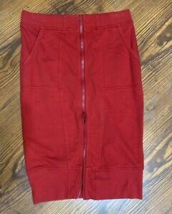 Prairie Underground Red Zip Front Straight Skirt Size S ? NO Size Tag