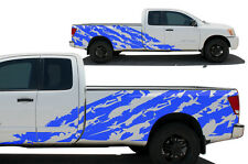 Custom Vinyl Decal Shred Wrap Kit for Nissan Titan Truck 2004-2013 Long Bed BLUE