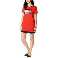 New TOMMY HILFIGER Women's Red Sport Logo T-Shirt Sweater Dress Size Large