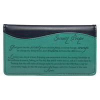 CHECKBOOK COVER Serenity Prayer, Navy Blue and Turquoise FREE SHIPPING