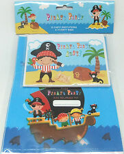 PIRATE PARTY - PARTY INVITES & PARTY BAG X 10 PACK
