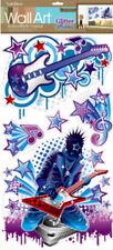 ROCKER HARD ROCK wall stickers 5 big decals guitars stars musical note glitter