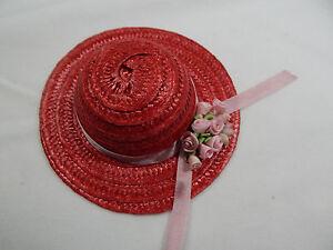 "Miniature Straw Hats By Theresa Yang  4"" Mini Straw Hats Hand Made #Z154R-PK"