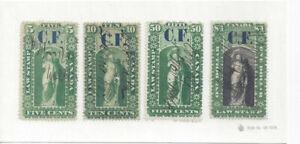 CANADA:(4 1864 used Ontario Law Stamps; 5c,10c,50c & $1 (CRSC OL1,2,5,11).