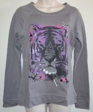 NWT CUTE RETRO Hybrid Gray & Purple Solo Tiger Sweatshirt Shirt Top Junior sz M