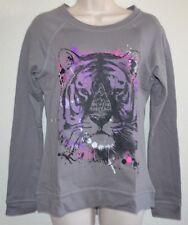 NWT CUTE RETRO Hybrid Gray & Purple Solo Tiger Sweatshirt Shirt Top Junior sz L