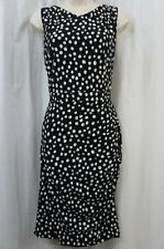 Jones New York Dress Sz 4 Black Ivory Blurred Dots Sleeveless Business Cocktail