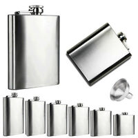 New Stainless Steel Flask 6oz Hip Liquor Whiskey Alcohol Flask Cap with Funnel