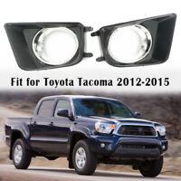 Pair Fog Light Lamp Bezel Cover W/chrome For Toyota Tacoma 2012-2015 81482-04030