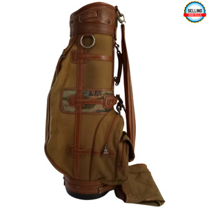 Vintage Daiwa Coach Collection Cart Bag Canvas Leather Rain Cover Please Read!