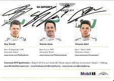 Smith / Kane / Abri SIGNED M-Sport Bentley Promo Card  Blancpain Series 2016