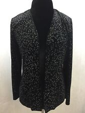 Ronni Nicole by Ouid Black Silver Sparkle Black Open Evening Jacket Sz S