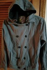 O'Neill Double Breasted Sweatshirt Hoodie Ten Button Gray Black Womens M ~ NEW ~