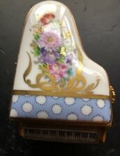 Limoges France Marque Deposee Grand Piano Miniature 24K Gold Flowers Top/Inside